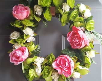 Pink, green, and white Rose 14 in. Wreath