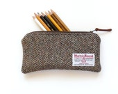 Brown Harris Tweed pencil case, Back to School gift, teacher gift
