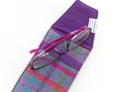 HARRIS TWEED Glasses or sunglasses case, purple, pink and teal check