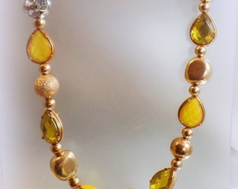 FALL SALE Vintage Yellow Rhinestone Necklace.  Gold Beads, Large Yellow Rhinestones and Rhinestone Ball Necklace.