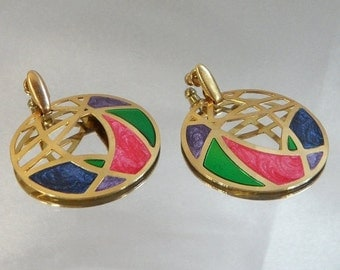 FALL SALE Vintage Abstract Earrings. Gold Tone Hoops. Stained Glass Style. Pink. Purple. Blue. Green. Marbled Enamel.