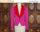 ON SALE Vintage 1980s Iconic BILL Blass Couture Fuchsia & Red  Wool Jacket  Sz 6
