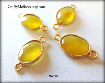 Clearance! Set of 4 YELLOW GOLD Chalcedony Bezel Set Gold Vermeil Connectors, 10mm x 18-19mm long, faceted oval gemstone link - Reg. 12.65