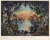 antique currier and ives print the fairy grotto illustration digital download