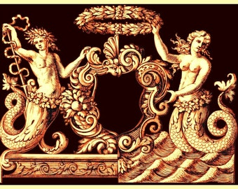 antique french illustration mermaids cartouche frame digital download