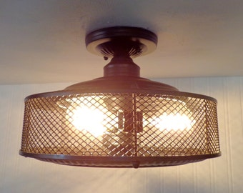 Vintage Inspired INDUSTRIAL Light Cage  Shown with Filament Edison Bulbs Upcycle Recycle Repurpose