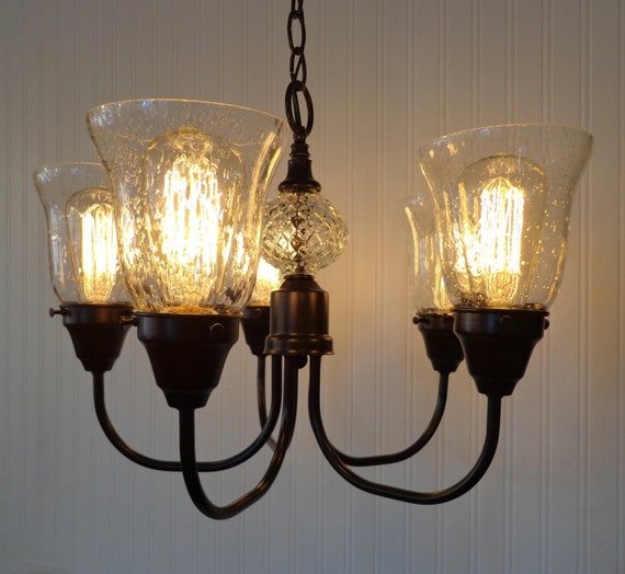 5-Light Seeded Glass CHANDELIER Shown with Edison Bulbs Reserved for EILEEN