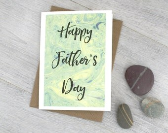 Happy Father's Day Card - Cards for Dad- Gifts for Dad - Green Cards - Marbled paper effect card - Gifts for book lovers - Marbling artwork