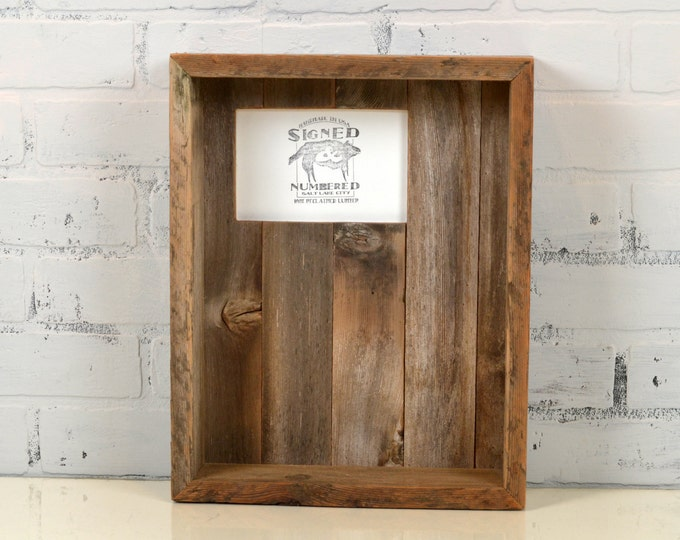 """Rustic Reclaimed Cedar Display Shadow Box Frame - Holds 4x6 Photo Plus Objects up to 2.75"""" deep - 11x14 Box Frame"""