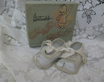 Sweet Vintage Satin Baby Shoes  with Box