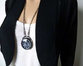 Black Bold Steampunk Watch Necklace - Long and Short chain (20-30 inch) - Womens Watch - Steampunk Watch - Gift Boxed