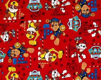 Custom Fitted Crib ~ Toddler Bed Sheet ~ Paw Patrol ~ Red
