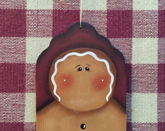 Adorable Gingerbread Maroon Gift Tag handpainted wood Christmas Ornament