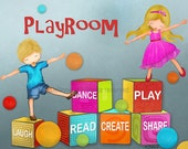 Playroom wall art print Dance Play Laugh Read Create Share kids room art, picture for playroom, kids room decor, kids playing