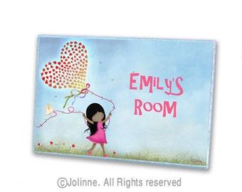 African American Girl Custom Room Sign Kids Personalized Door sign