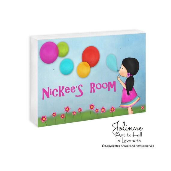 Girl bedroom sign personalized Door Sign Hanger Custom Baby girl Door Hanger Girls Bedroom Name Sign Pink Purple Blue Custom Hair Skin Color