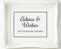 Border Advice and Wishes Wedding Sign, Wishing Tree Sign, PRINTABLE, Wedding Advice Sign, Guest Book Sign, Advice and Wishes for New Mr Mrs