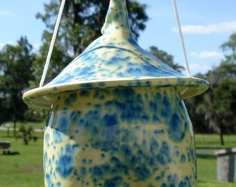 Ceramic Bird Feeder, Pottery Style, Buttercup Blue