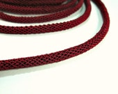 ON SALE Deep red braided silk cord, bookbinding cord, thick cord - 6mm, 1m