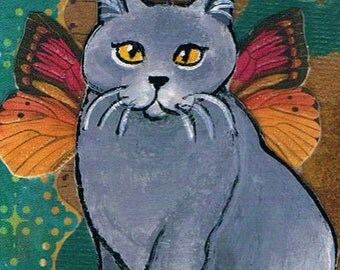 Grey Shorthaired Cat Fairy ACEO, Art Trading Card, Kitty Collage Card, Tiny  and Collectible, One of a Kind  Miniature Mixed Media Painting