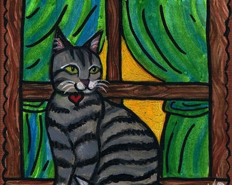 Original Watercolor painting, Kitty in a Window, Cat Art, Grey striped Tabby, 4x4 inch on tiny cute canvas