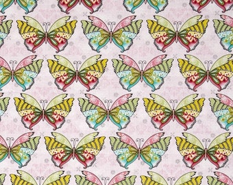Novelty Fabrics from Benartex Boho Butterfly Multicolored Yellow Green Butterflies on Pink