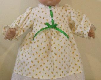 15 inch baby doll yellow rosebud flannel nightie