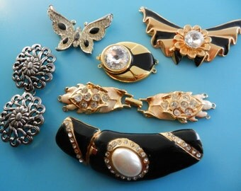 Gorgeous  mix Clasps for Jewelry, 1960s and 1970s - very  glamorous by italian couture for yours creations - 6 Pieces - art.457 -