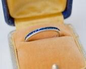 Vintage. Antique. Sterling Blue Glass Channel Set Ring . Blue Stones