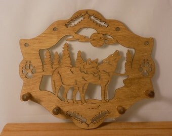 TWO WOLVES In A FRAME Key Rack Hand Made Scroll Saw Plaque Key Rack