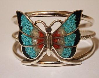 Navajo Silver Bracelet Butterfly Inlaid