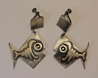 Frank Miraglia Fish Earrings Silver 1950s