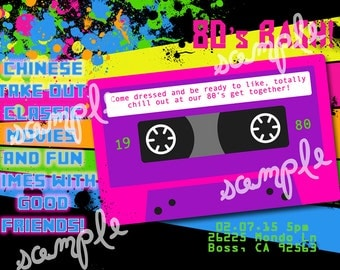 80s Bash Birthday Party Invitation Printable Digital File