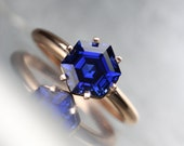 Hexagon Cut Lab Created Sapphire Engagement Ring 14k Rose White Yellow Gold Intense Blue Conflict Free Gemstone 6 Prong Bridal - Cobalt Cage