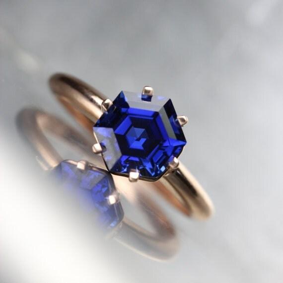 Hexagon Cut Lab Created Ring