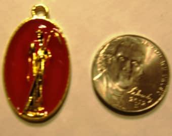 Mysterious SANTISIMA MUERTE necklace / pendant Santa gold plated RED enamel Nice