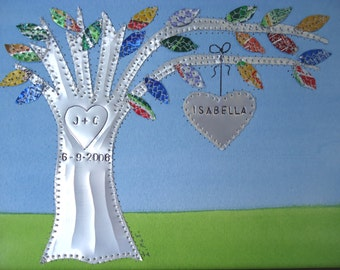 10 Year Anniversary Wedding Gift -  Aluminum -  Tin Gift -  Hearts Family Tree Personalized Engraved Dates and Names Stamped