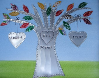 Tin Anniversary Gift Wedding Gift Hearts Family Tree Personalized Engraved Dates and Names Stamped