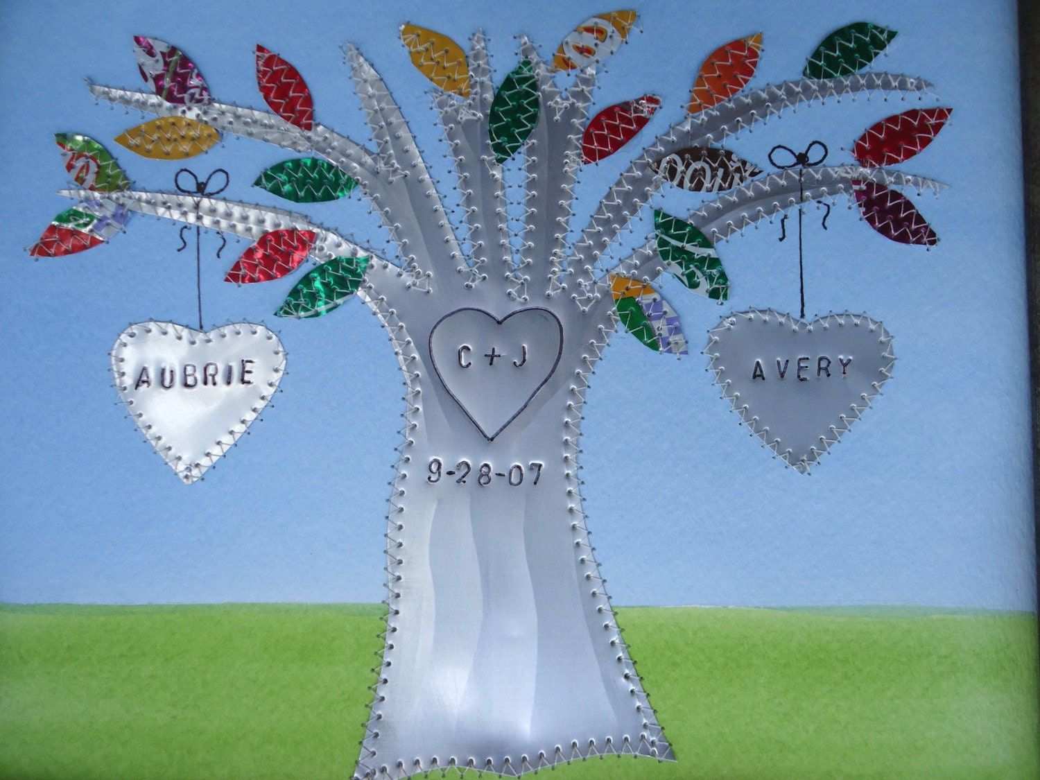 Tin Wedding Anniversary Gift: 10 Year Wedding Anniversary Tin Anniversary Gift Hearts Family