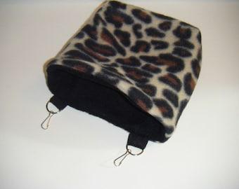 Sugar Glider Pouch, Reversible, Fleece, Leopard Print Fleece, Black Fleece