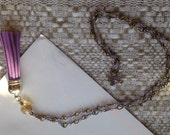 Purple tassel champagne crystal long lariat necklace
