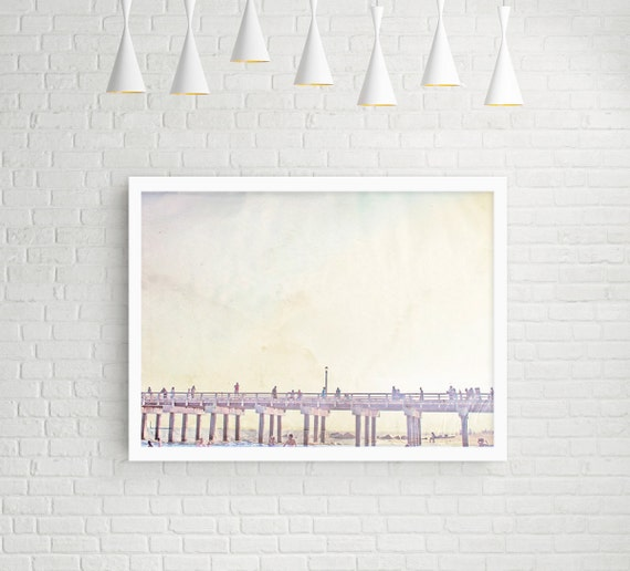 "Oversized Art - Beach Photography // Large Wall Art, Coney Island Boardwalk at Sunset // Minimal Beach Photography  - ""Boardwalk Dreams"""