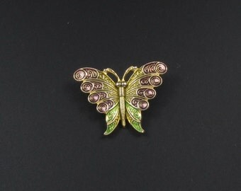 Enameled Butterfly Brooch, Spanish Butterfly Brooch, Small Butterfly Pin, Insect Brooch, Bug Brooch, Bug Pin