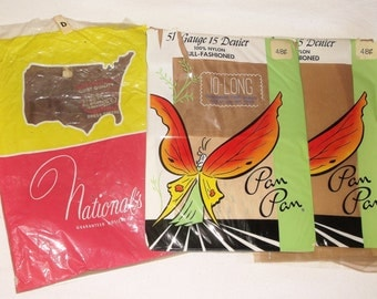 Vintage 15 Denier SEAM NYLON STOCKINGS • 3 pairs • Sizes 10 & D