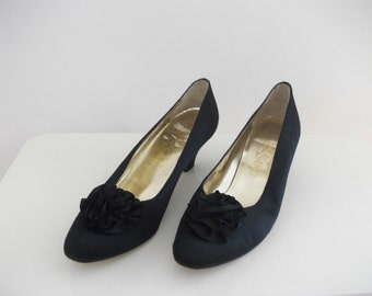 Black Silk Ferragamo Heels, Size 7 AA