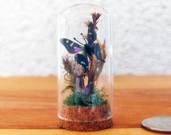 Mini Bell Jar with Butterflies and Amethyst Crystals