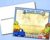 Thank You Note Cards with Envelope, Printed Thank You Cards, Blue Truck, Little Farm Pickup, Baby Farm Animals, Birthday Party