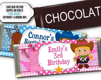 12 Printed Candy Bar Wrappers, Party Favors, Western Theme, Cowboy or Cowgirl, Pink, Blue, Birthday Party