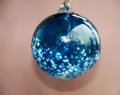 Hand Blown Art Glass Christmas Ornament/Ball/Suncatcher, Aquamarine and White Color, Holidays