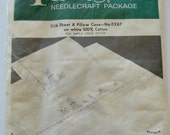 Vintage Paragon Needlecraft Package Crib Sheet & Pillow Baby Nursery Bunnies For Simple Cross Stitch